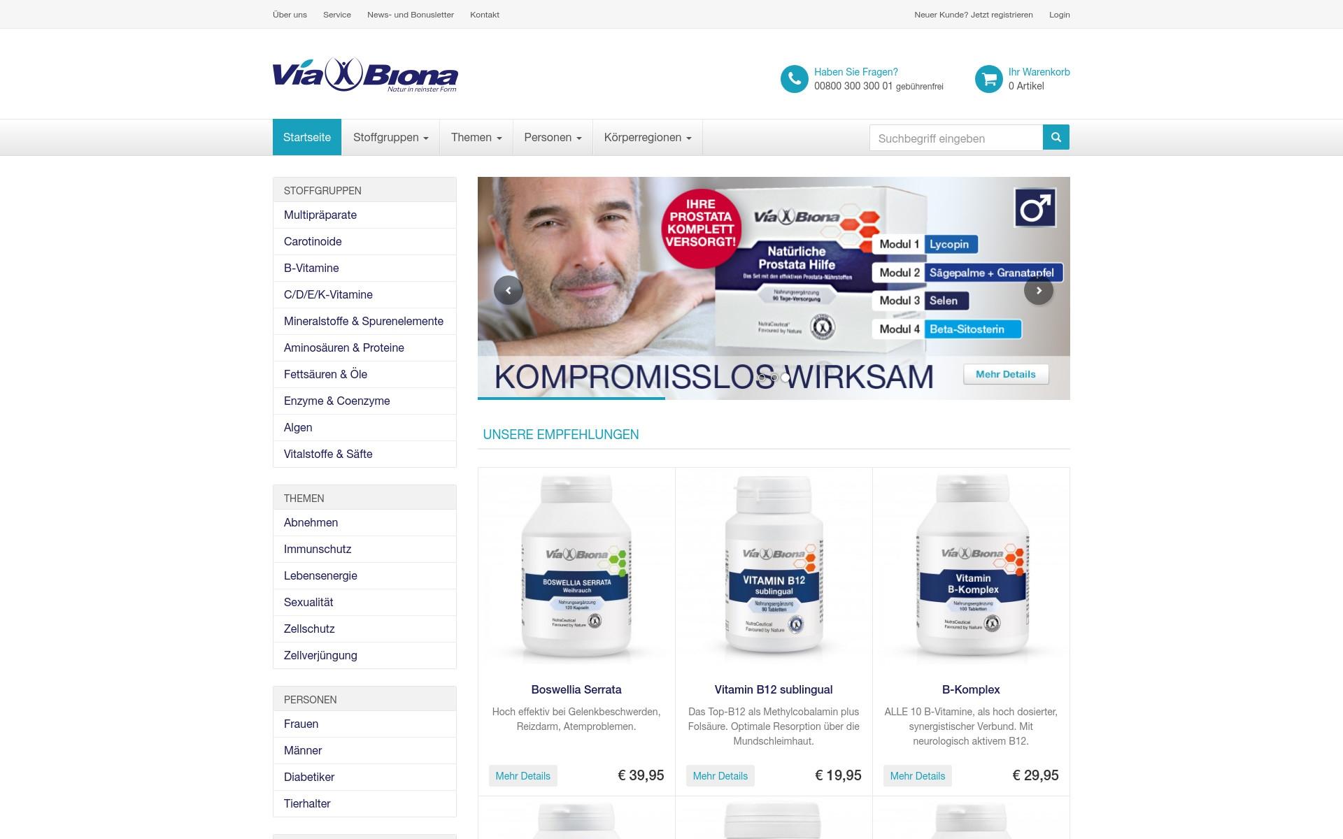 Viabiona – Responsive E-Commerce Lösung
